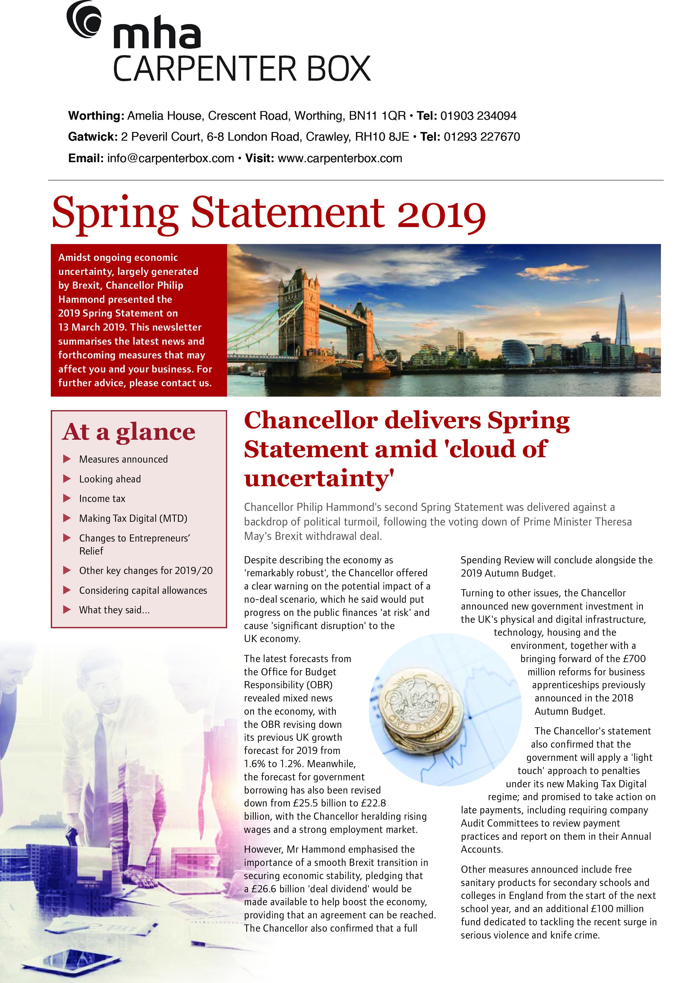 Spring Statement 2019 | MHA Carpenter Box